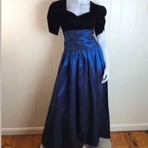 Vintage 80s/90s Blue Prom Party Formal Dress